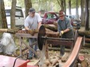 sawing wood at Fall Fes